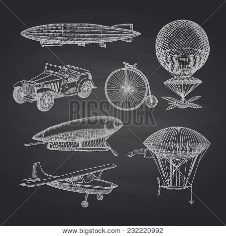 Vector Set Of Steampunk Hand Drawn Dirigibles, Bicycles And Cars On Black Chalkboard Illustration