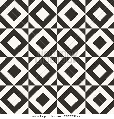 Black And White Abstract Geometric Quilt Pattern