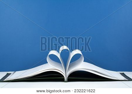 Old Open Hardback Book, Page Decorate Into A Flower Shape For Love In Valentine's. Love With Open Bo
