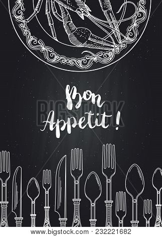 Vector Background On Black Chalkboard Illustration With Hand Drawn Tableware And Lobster On Plate Wi