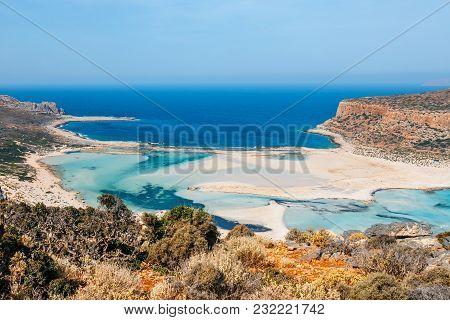Fantastic View Of Balos Lagoon And Gramvousa Island On Crete, Greece.
