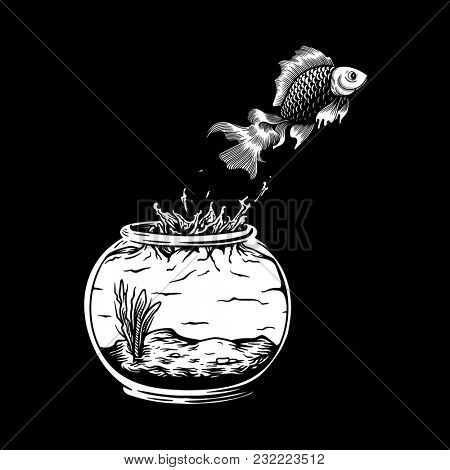 Pet fish jumping out of the fish tank risk and freedom concept