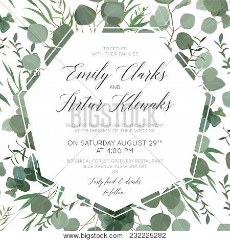 Wedding Floral Invite, Save The Date Card Design With Elegant Eucalyptus Greenery Branches, Green Fo