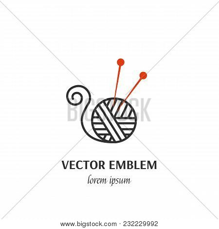 Vector Hand Made Symbol In Trendy Line Style Isolated On White Background. Clew And Needles. Icon In