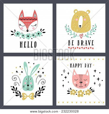 Vector Set Of Cute Animals: Fox, Bear, Rabbit, Cat. Illustrations For Children's Prints, Greetings,