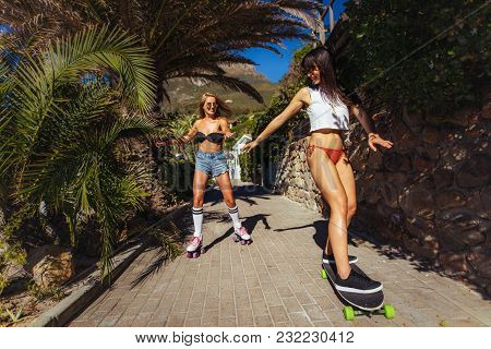 Friends Skating During Their Summer Vacation