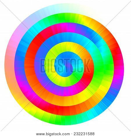 Colorful Vector Rainbow Spiral. Rgb. Eps8. Global Colors. One Line Gradient