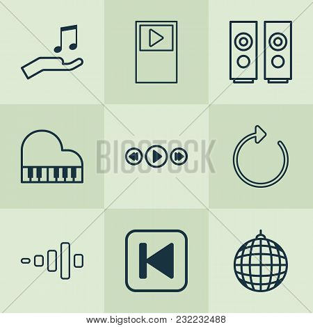 Multimedia Icons Set With Piano, Musical Device, Sound And Other Player Elements. Isolated  Illustra