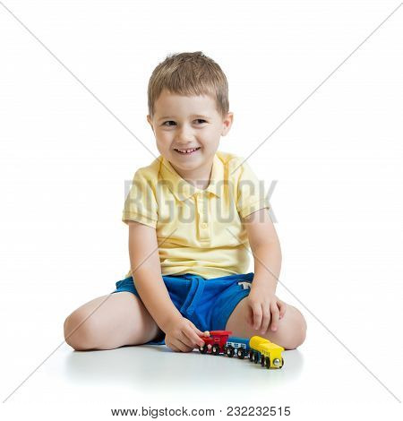 Little Boy Playing With Toy Isolated On White