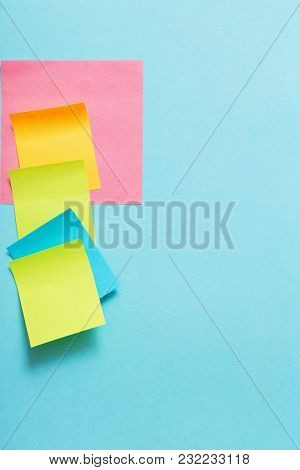 The Color Paper Stickers On The Blue Background