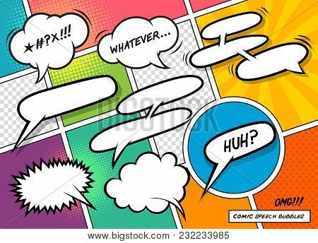 A Collection Of Fun Cartoon Speech Bubbles On A Colourful Background. Vector Illustration