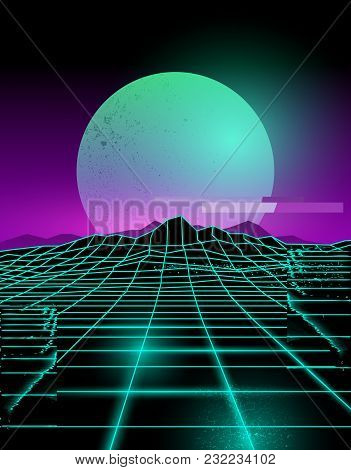 Futuristic Neon Grid Lines And Mountain Landscape With A Neon Sun In Purple And Green. Glitch Backgr