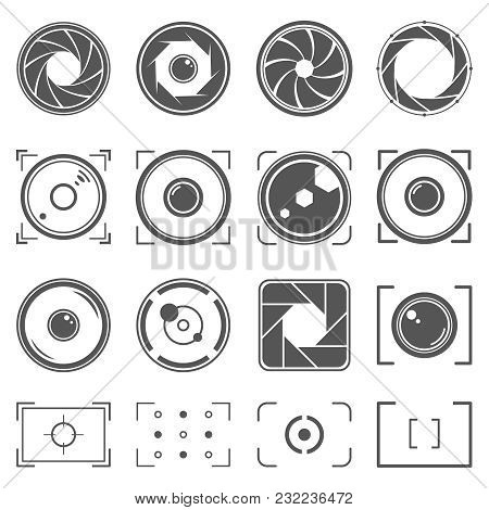 Camera Shutter, Lenses And Photo Camera Elements Set. Aperture And Photography Vector Illustration.