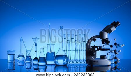 Science Laboratory. Laboratory Glassware, Microscope, Test Tubes. Research And Development. Blue Bac