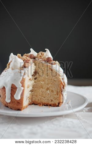 Easter Cake With White Icing On A Plate