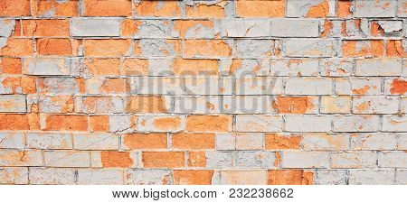 Empty Old Painted Distressed Grungy Brick Wall Texture Background. Abstract Web Banner.