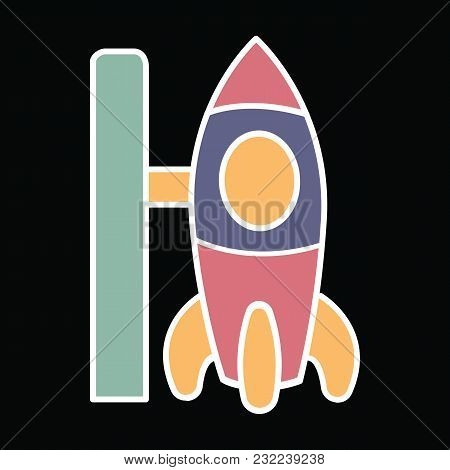 Spaceship Icon. Cartoon Spaceship Vector Icon For Web Design Isolated On Black Background