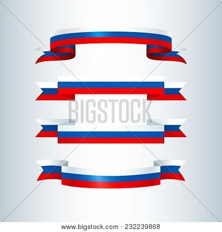 Set Of Wavy Striped Ribbons Of Colors Of The Flag Of Russia Of A Patriotic National Symbol Element F