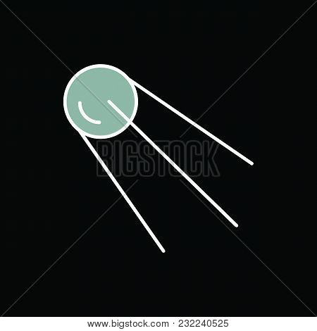 Satellite Icon. Cartoon Science Satellite Vector Icon For Web Design Isolated On Black Background