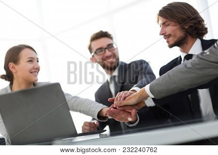 Successful entrepreneurs working in a team