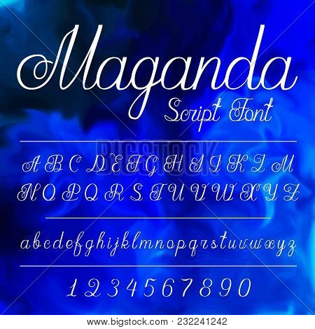 Vector Set With Hand Written Alfabet Calligraphy Font Collection Wedding Letter