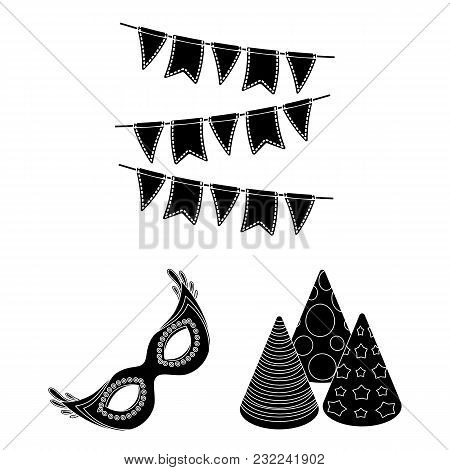 Party, Entertainment Black Icons In Set Collection For Design. Celebration And Treat Vector Symbol S