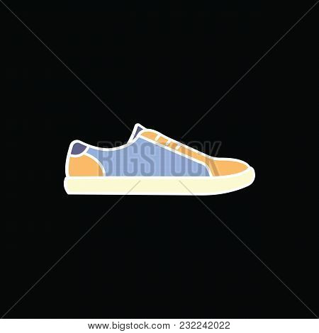 Sneaker Icon. Cartoon Sneaker Vector Icon For Web Design Isolated On Black Background