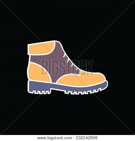 Boot Icon. Cartoon Modern Boot Vector Icon For Web Design Isolated On Black Background