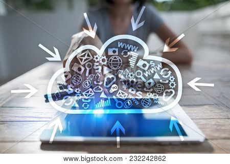 Cloud Technology. Data Storage. Networking And Internet Service Concept