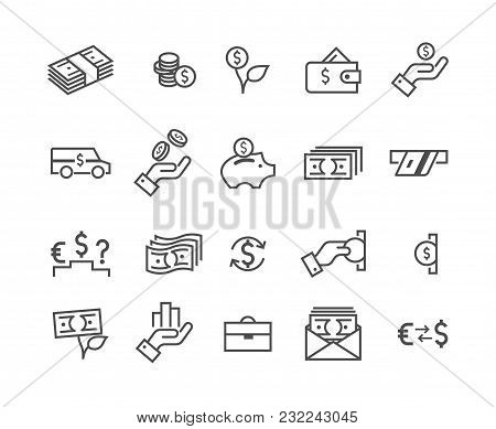 Simple Set Of Money Icon. Contains Such Icons As Banking, Wallet And Coins Signs. Credit Card, Curre
