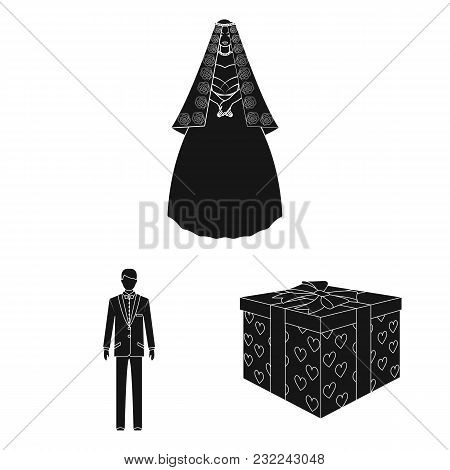Wedding And Attributes Black Icons In Set Collection For Design.newlyweds And Accessories Vector Sym