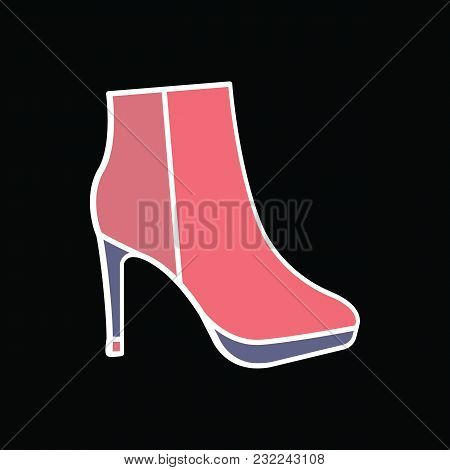 Hight Boot Icon. Cartoon Female Hight Boot Vector Icon For Web Design Isolated On Black Background