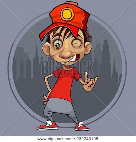 Cartoon Guy In A Red Cap Winks And Shows A Gesture Against The Background Of A Circle With The City