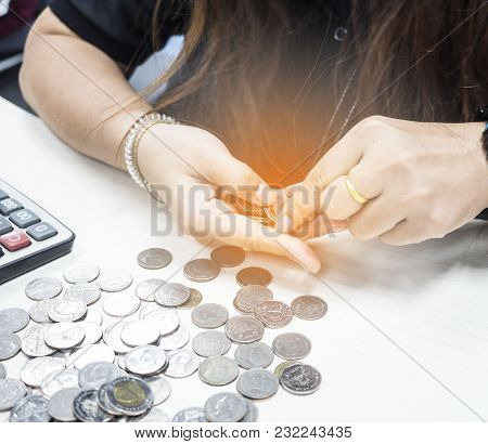 Soft Focus Of Girl Counting Coin , Saving Money Concept