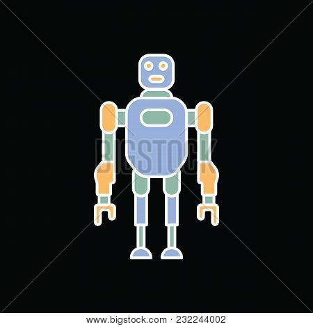 Robot Icon. Cartoon Future Robot Vector Icon For Web Design Isolated On Black Background