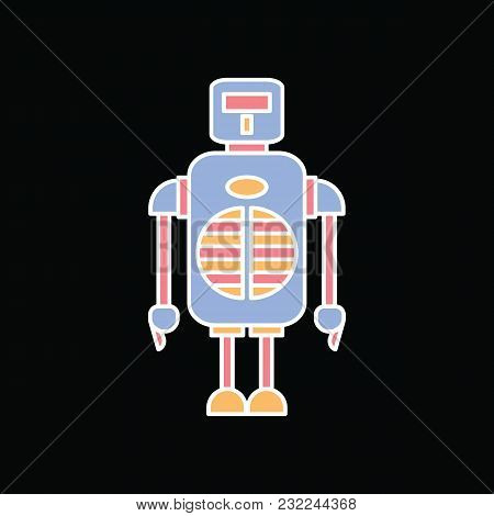Robot Icon. Cartoon Monster Robot Vector Icon For Web Design Isolated On Black Background