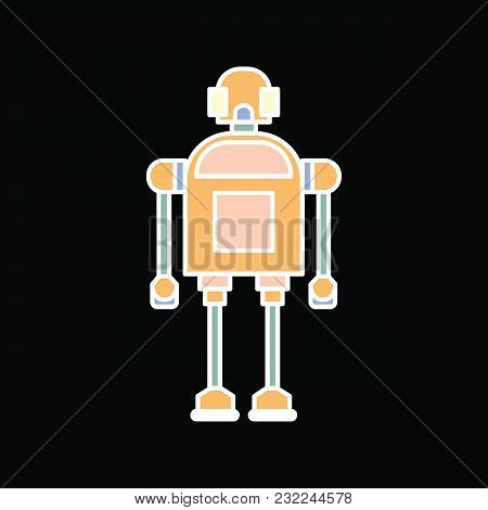 Robot Icon. Cartoon Comic Robot Vector Icon For Web Design Isolated On Black Background