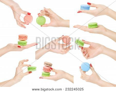 Woman Hands Holding, Showing Or Measuring Macaroons Set Isolated With Clipping Path