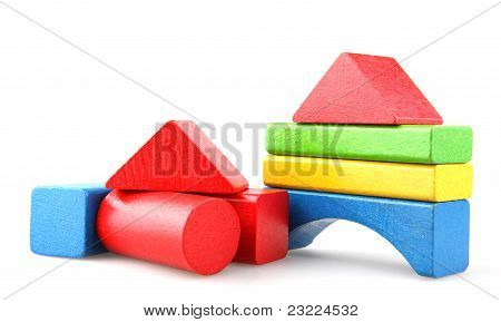 Wooden building blocks isolated on white background poster