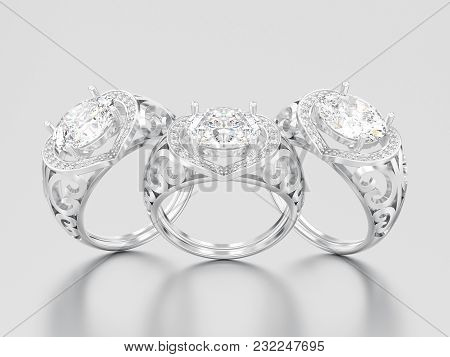 3d Illustration Three White Gold Or Silver Decorative Engagement Diamond Rings On A Gray Background