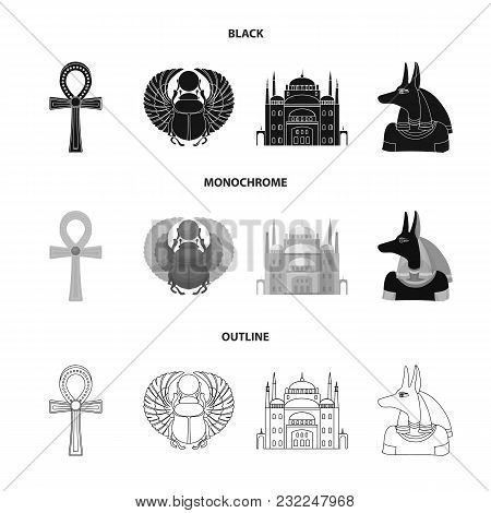 Anubis, Ankh, Cairo Citadel, Egyptian Beetle.ancient Egypt Set Collection Icons In Black, Monochrome