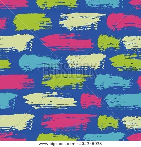 Vector Seamless Pattern With Brush Stripes And Strokes. Green Pink Color On Blue Background. Hand Pa