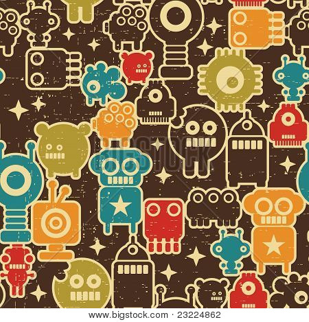Robots and monsters seamless pattern on brown in retro style. poster