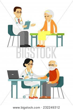 Practitioner Young Doctors Man And Woman And Elderly Patients In Hospital. Consultation And Medical