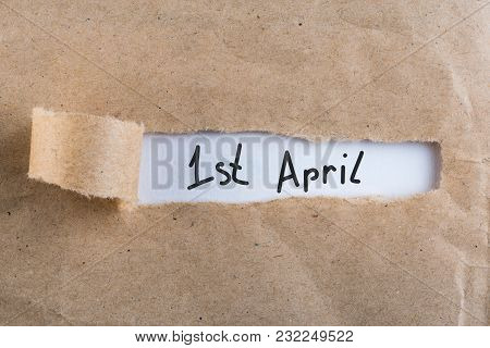 April 1st. Day 1 Of April Month, Calendar In Torn Envelope. Spring Time. Fools Day.
