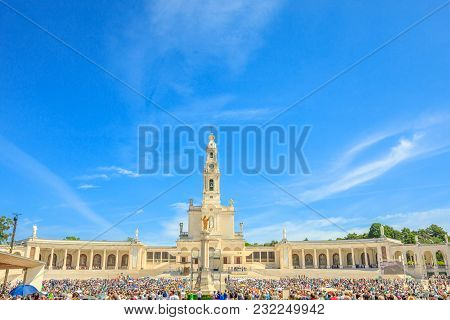 Tourists, Faithful And Pilgrims In The Square Of The Sanctuary Of Fatima In Portugal For The 100th A