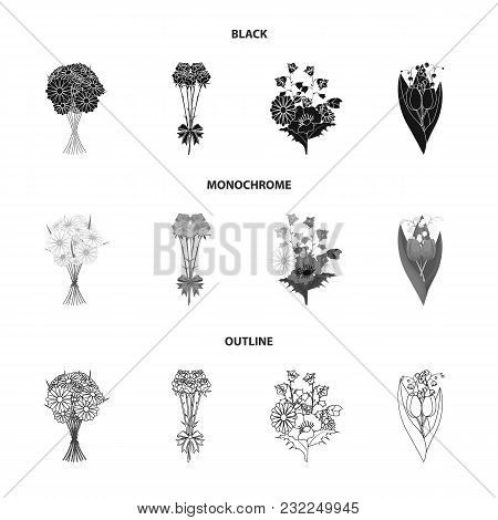A Bouquet Of Fresh Flowers Black, Monochrome, Outline Icons In Set Collection For Design. Various Bo