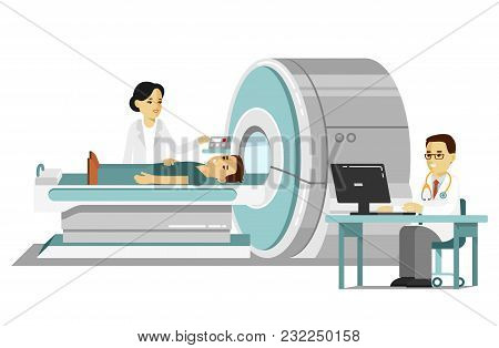 Young Doctor Man Scanning Patient With Scanner Machine In Hospital. Consultation And Medical Diagnos