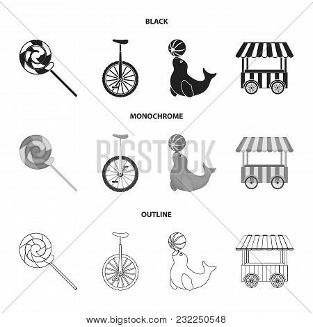 Lollipop, Trained Seal, Snack On Wheels, Monocycle.circus Set Collection Icons In Black, Monochrome,