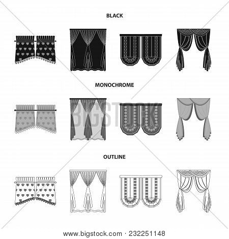 Curtains, Stick, Cornices, And Other  Icon In Black, Monochrome, Outline Style.bow, Fabric Tulle Ico